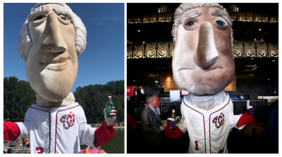 Nationals Mascot Tom and George enjoying Mountain Valley Spring Water.